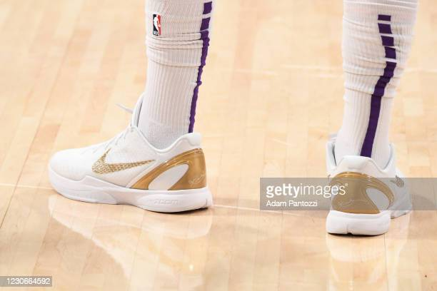 The sneakers worn by Anthony Davis of the Los Angeles Lakers during the game against the Golden State Warriors on January 18, 2021 at STAPLES Center...