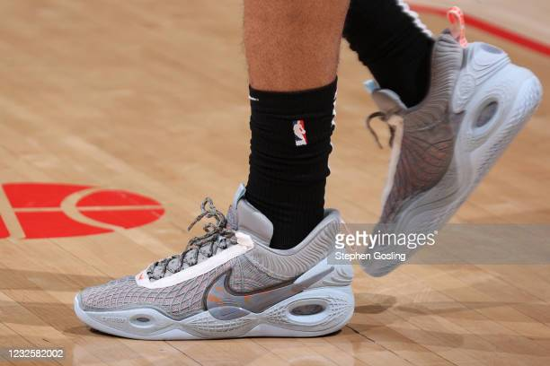 The sneakers worn by Anthony Davis of the Los Angeles Lakers during the game against the Washington Wizards on April 28, 2021 at Capital One Arena in...