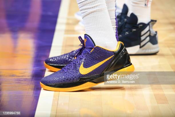 The sneakers worn by Anthony Davis of the Los Angeles Lakers during the game against the Golden State Warriors on October 19, 2021 at STAPLES Center...