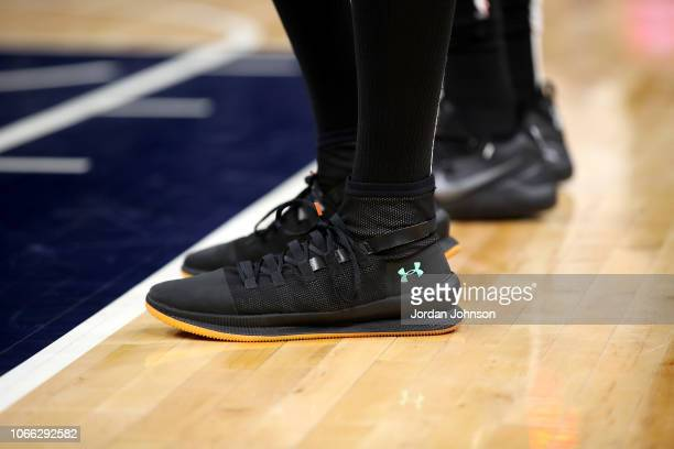 The sneakers worn by Anthony Tolliver of the Minnesota Timberwolves against the San Antonio Spurs on Novemeber 28 2018 at Target Center in...