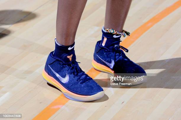 the sneakers worn by Ariel Atkins of the Washington Mystics are seen against the New York Liberty on July 21 2018 at Westchester County Center in...