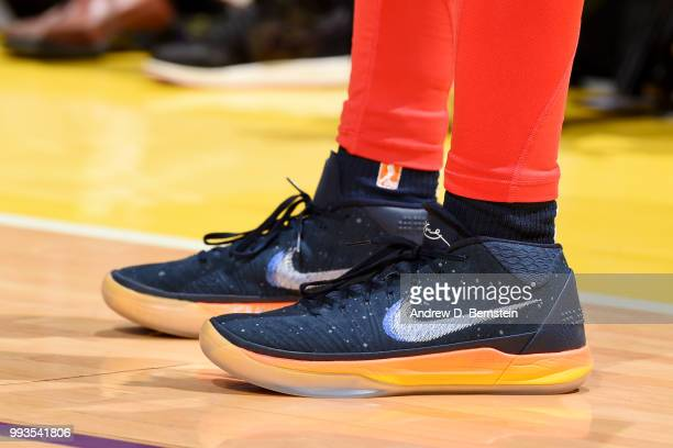 the sneakers worn by Ariel Atkins of the Washington Mystics are seen against the Los Angeles Sparks on July 7 2018 at STAPLES Center in Los Angeles...