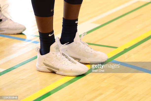 The sneakers worn by Bam Adebayo of the USA Men's National Team during USAB Mens National Team practice on July 29, 2021 in Tokyo, Japan. NOTE TO...