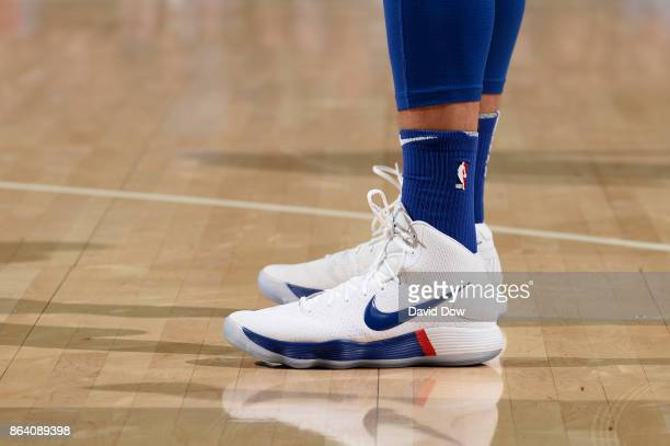 the sneakers worn by Ben Simmons of the Philadelphia 76ers on October 20 2017 at the Wells Fargo Center in Philadelphia Pennsylvania NOTE TO USER...
