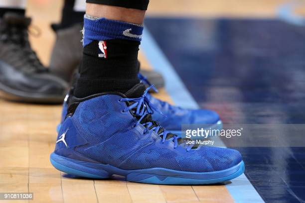 the sneakers worn by Blake Griffin of the LA Clippers are seen during the game against the Memphis Grizzlies on January 26 2018 at FedExForum in...