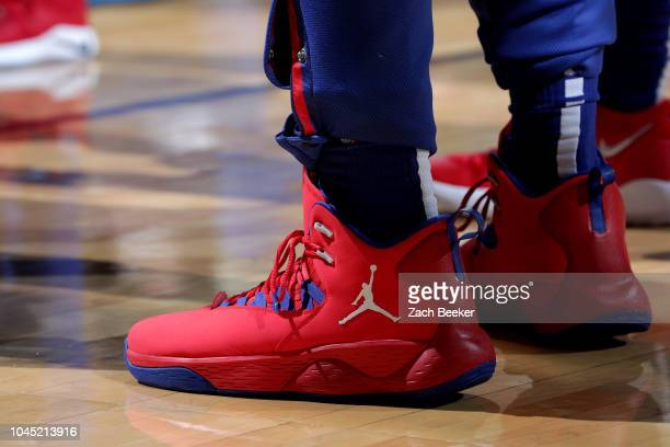 The sneakers worn by Blake Griffin of the Detroit Pistons against the Oklahoma City Thunder during a preseason game on October 3 2018 at Chesapeake...