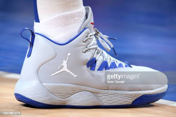 The sneakers worn by Blake Griffin of the Detroit Pistons against the Washington Wizards during a preseason game on October 10 2018 at Little Caesars...