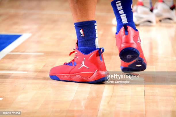 The sneakers worn by Blake Griffin of the Detroit Pistons against the Oklahoma City Thunder on December 3 2018 at Little Caesars Arena in Detroit...