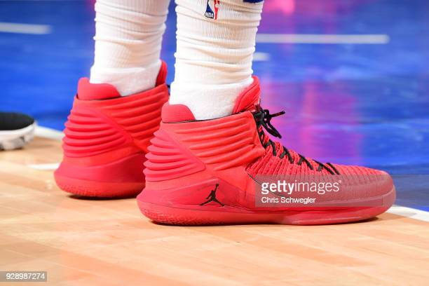 the sneakers worn by Blake Griffin of the Detroit Pistons are seen during the game against the Toronto Raptors on March 7 2018 at Little Caesars...