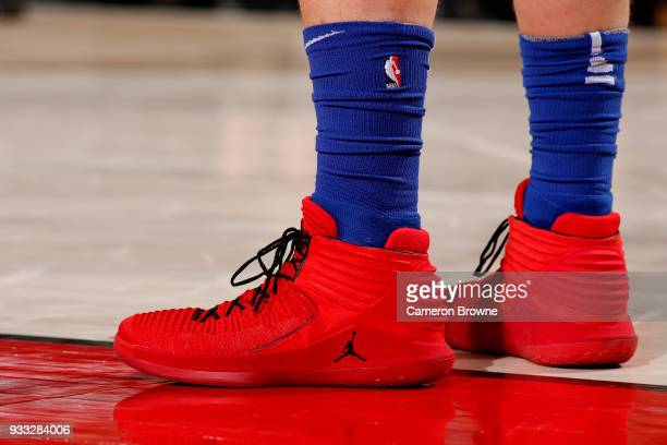 the sneakers worn by Blake Griffin of the Detroit Pistons are seen during the game against the Portland Trail Blazers on March 17 2018 at the Moda...