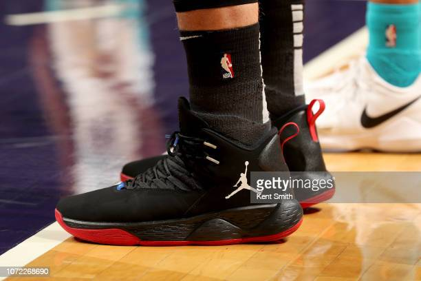 The sneakers worn by Blake Griffin of the Detroit Pistons during the game against the Charlotte Hornets on December 12 2018 at Spectrum Center in...