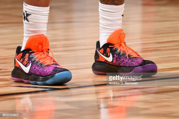 the sneakers worn by Bradley Beal Of Team LeBron are seen during the NBA AllStar Game as a part of 2018 NBA AllStar Weekend at STAPLES Center on...