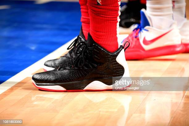 The sneakers worn by Bradley Beal of the Washington Wizards against the Detroit Pistons during a preseason game on October 10 2018 at Little Caesars...