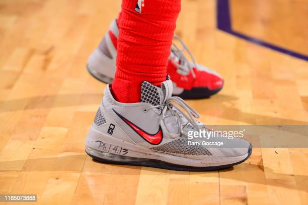 The sneakers worn by Bradley Beal of the Washington Wizards against the Phoenix Suns on November 27 2019 at Talking Stick Resort Arena in Phoenix...