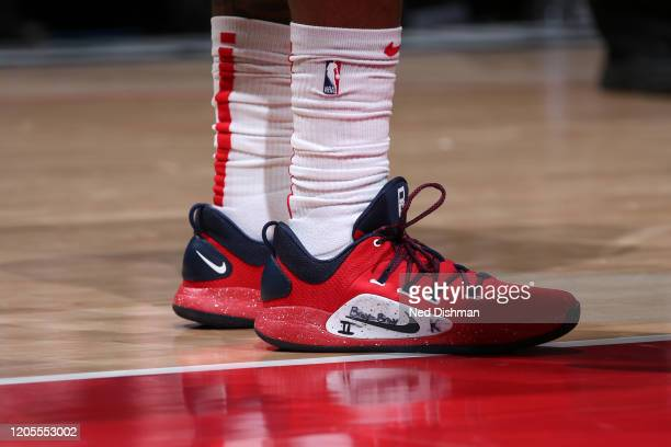The sneakers worn by Bradley Beal of the Washington Wizards during the game against the Atlanta Hawks on March 6 2020 at Capital One Arena in...