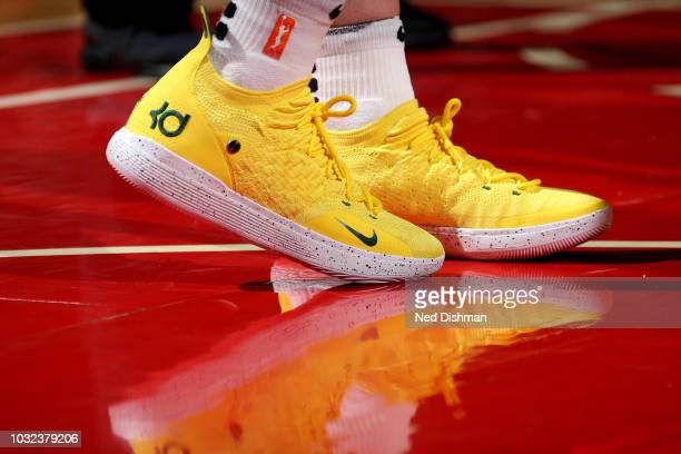 The sneakers worn by Breanna Stewart of the Seattle Storm against the Washington Mystics during Game Three of the 2018 WNBA Finals on September 12...