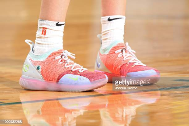 the sneakers worn by Breanna Stewart of the Seattle Storm are seen against the Dallas Wings on July 14 2018 at Key Arena in Seattle Washington NOTE...