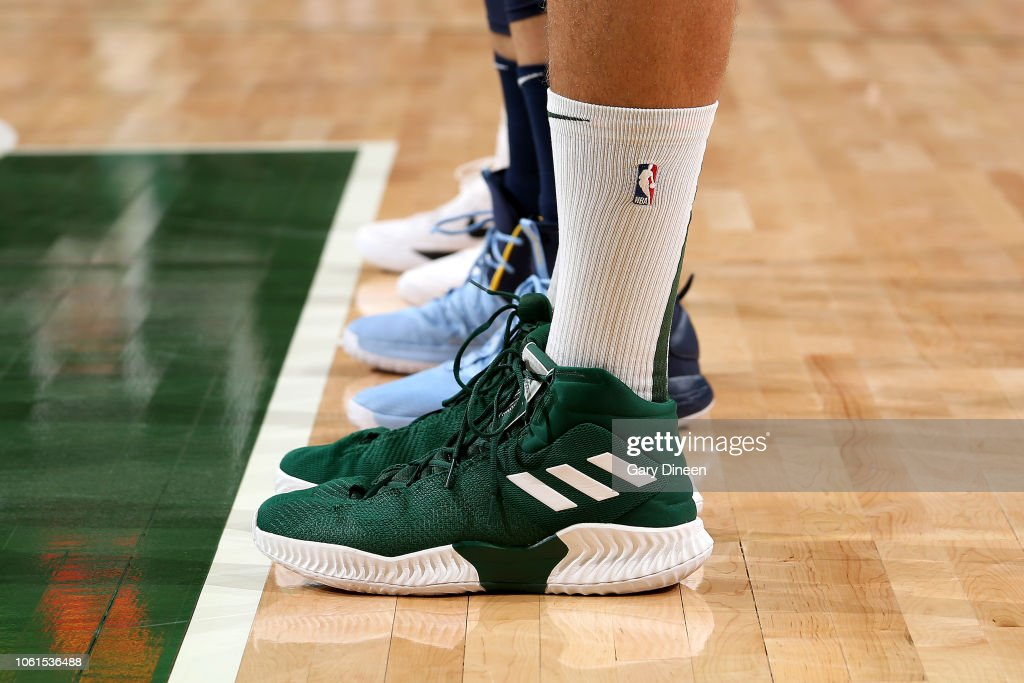 e4fc92ee9c9 The sneakers worn by Brook Lopez of the Milwaukee Bucks against the ...