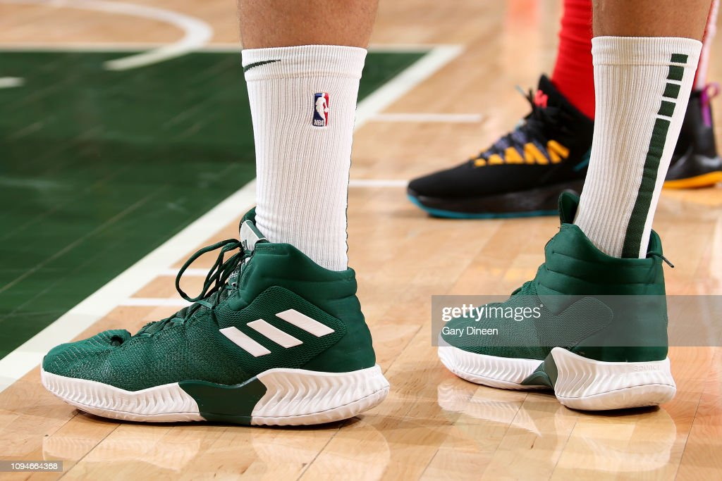 2f270f48544 The sneakers worn by Brook Lopez of the Milwaukee Bucks during the ...
