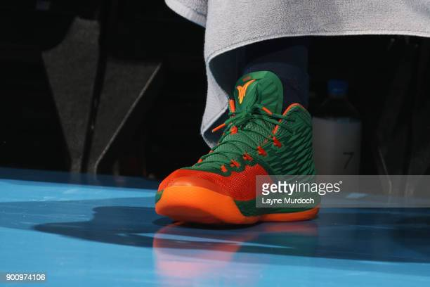 the sneakers worn by Carmelo Anthony of the Oklahoma City Thunder are seen during the game against the Houston Rockets on December 25 2017 at...