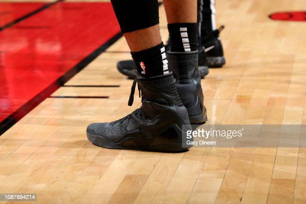 The sneakers worn by Chandler Hutchison of the Chicago Bulls against the Atlanta Hawks on January 23 2019 at the United Center in Chicago Illinois...