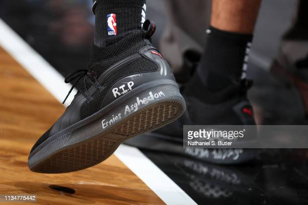 The sneakers worn by Danny Green of the Toronto Raptors against the Brooklyn Nets on April 3 2019 at Barclays Center in New York City New York NOTE...