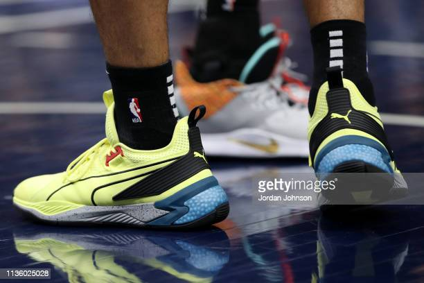 The sneakers worn by Danny Green of the Toronto Raptors during the game against the Minnesota Timberwolves on April 9 2019 at Target Center in...