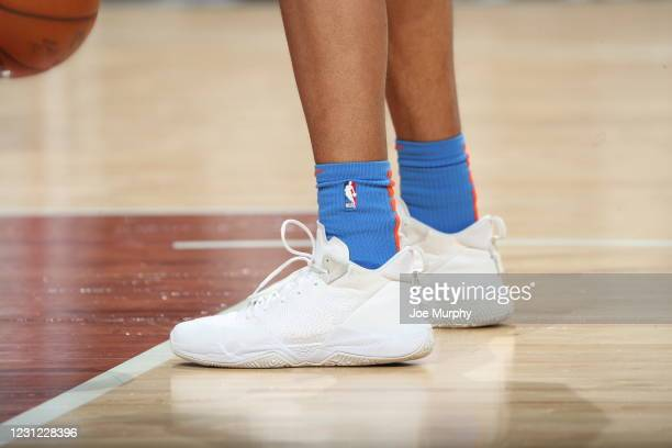 The sneakers worn by Darius Bazley of the Oklahoma City Thunder before the game against the Memphis Grizzlies on February 17, 2021 at FedExForum in...