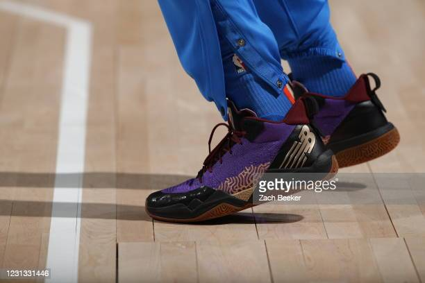 The sneakers worn by Darius Bazley of the Oklahoma City Thunder during the game against the Miami Heat on February 22, 2021 at Chesapeake Energy...