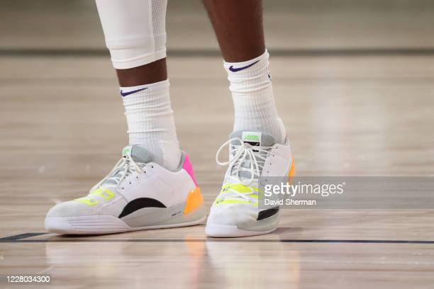 The sneakers worn by Deandre Ayton of the Phoenix Suns during the game against the Dallas Mavericks on August 13 2020 at AdventHealth Arena in...