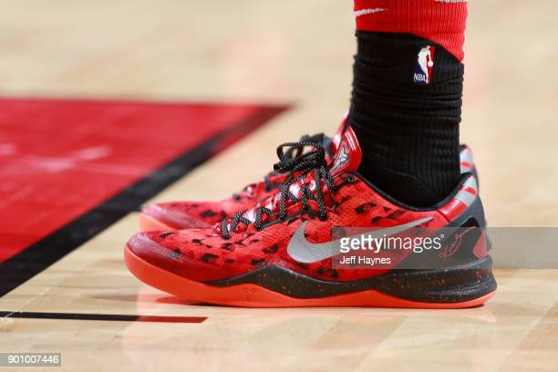 the sneakers worn by DeMar DeRozan of the Toronto Raptors are seen during the game against the Chicago Bulls on January 3 2018 at the United Center...
