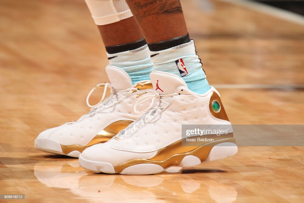 the sneakers worn by Derrick Jones Jr. #5 of the Miami Heat are seen during the game against the Detroit Pistons on March 3, 2018 at American Airlines Arena in Miami, Florida.