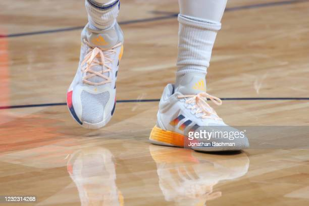 The sneakers worn by Derrick Rose of the New York Knicks during the game against the New Orleans Pelicans on April 14, 2021 at Smoothie King Center...