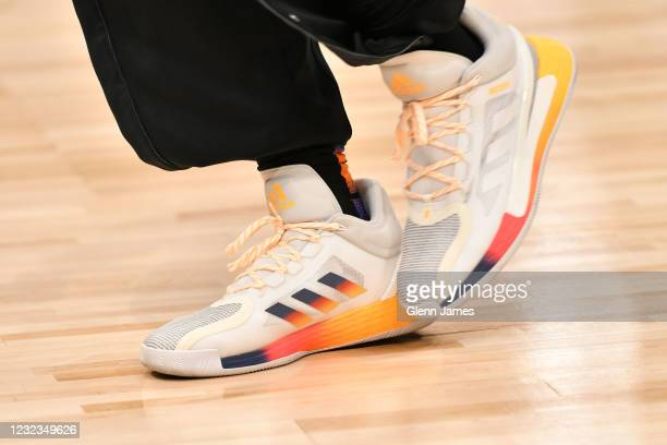 The sneakers worn by Derrick Rose of the New York Knicks during the game against the Dallas Mavericks on April 16, 2021 at the American Airlines...