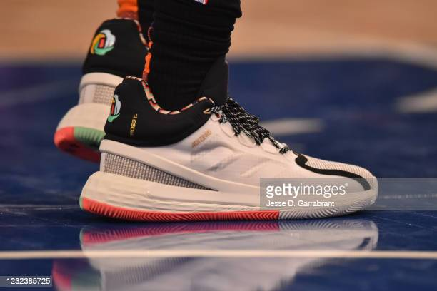 The sneakers worn by Derrick Rose of the New York Knicks on April 18, 2021 at Madison Square Garden in New York City, New York. NOTE TO USER: User...