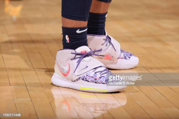 The sneakers worn by Desmond Bane of the Memphis Grizzlies during the game against the New York Knicks on April 9, 2021 at Madison Square Garden in...