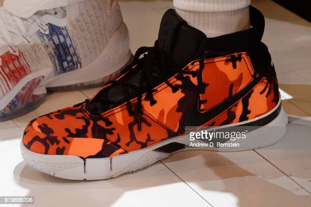 the sneakers worn by Devin Booker of the Phoenix Suns are seen during the JBL ThreePoint Contest during State Farm AllStar Saturday Night as part of...