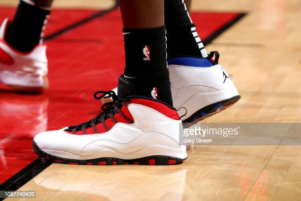 The sneakers worn by Dewayne Dedmon of the Atlanta Hawks against the Chicago Bulls on January 23 2019 at the United Center in Chicago Illinois NOTE...