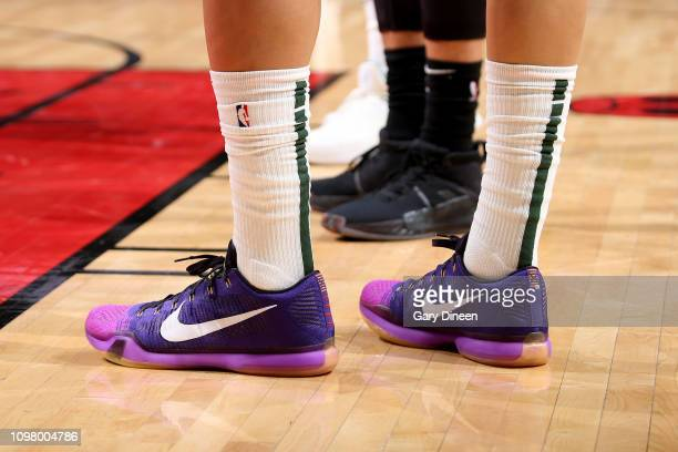 The sneakers worn by DJ Wilson of the Milwaukee Bucks during the game against the Chicago Bulls on February 11 2019 at the United Center in Chicago...
