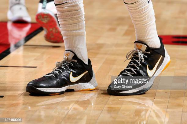 The sneakers worn by DJ Wilson of the Milwaukee Bucks during the game against the Chicago Bulls on February 25 2019 at the United Center in Chicago...