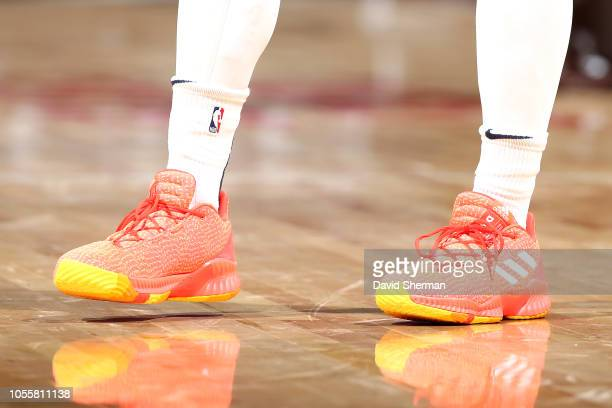 The sneakers worn by Donovan Mitchell of the Utah Jazz against the Minnesota Timberwolves on October 31 2018 at Target Center in Minneapolis...
