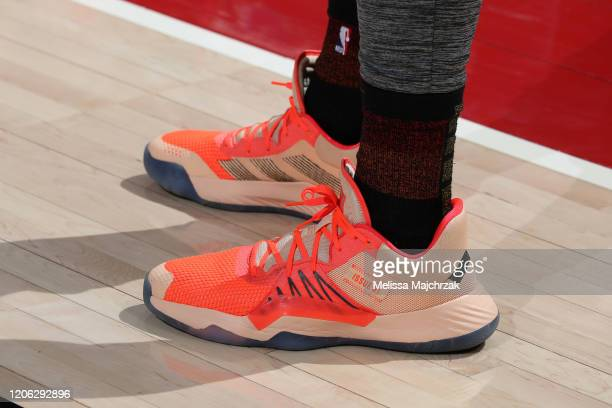 The sneakers worn by Donovan Mitchell of the Utah Jazz during the game against the Toronto Raptors on March 9 2020 at vivintSmartHome Arena in Salt...
