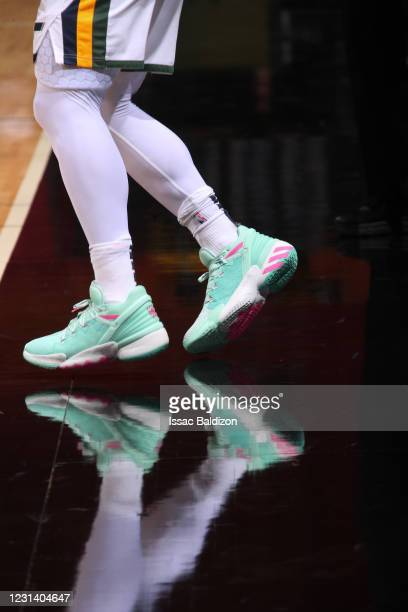 The sneakers worn by Donovan Mitchell of the Utah Jazz during the game against the Miami Heat on February 26, 2021 at American Airlines Arena in...