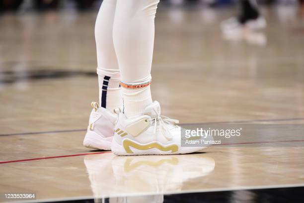 The sneakers worn by Donovan Mitchell of the Utah Jazz during the game against the LA Clippers during Round 2, Game 6 of the 2021 NBA Playoffs on...