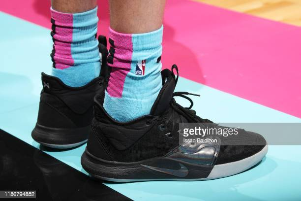 The sneakers worn by Duncan Robinson of the Miami Heat during the game against the Washington Wizards on December 6 2019 at American Airlines Arena...