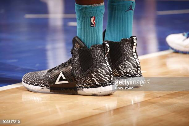 the sneakers worn by Dwight Howard of the Charlotte Hornets are seen during the game against the Detroit Pistons on January 15 2018 at Little Caesars...