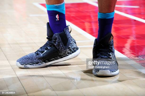 the sneakers worn by Dwight Howard of the Charlotte Hornets are seen during the game against the Atlanta Hawks on January 31 2018 at Philips Arena in...