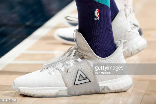 the sneakers worn by Dwight Howard of the Charlotte Hornets are seen during the game against the Indiana Pacers on April 10 2018 at Bankers Life...