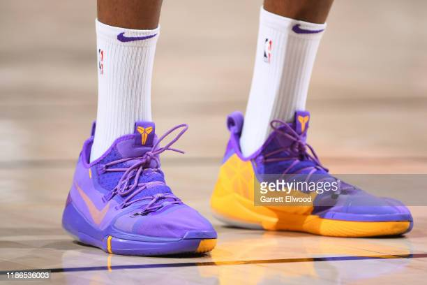 The sneakers worn by Dwight Howard of the Los Angeles Lakers during the game against the Utah Jazz on December 4 2019 at vivintSmartHome Arena in...