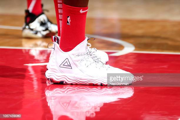 The sneakers worn by Dwight Howard of the Washington Wizards against the New York Knicks on November 4 2018 at Capital One Arena in Washington DC...